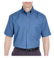 Custom UltraClub Short Sleeve Denim Shirt Mens